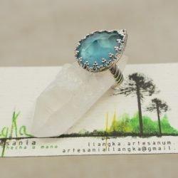 Anillo de plata 925 con  cristal facetado azul